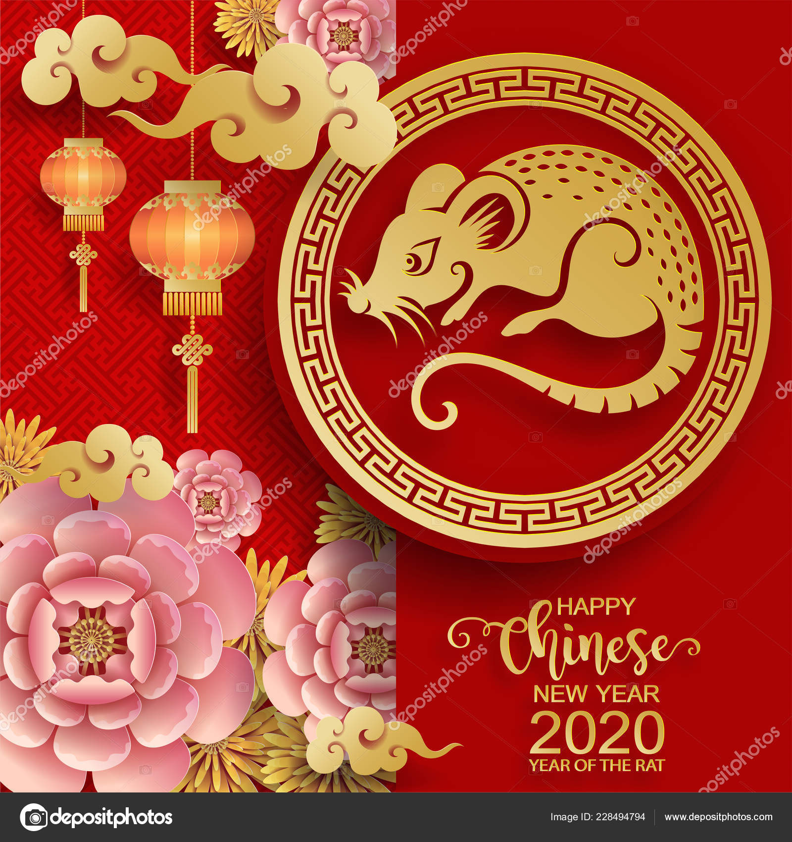 Chinese New Years 2020 Happy Chinese New Year 2020 Zodiac Sign Gold Rat Paper — Stock