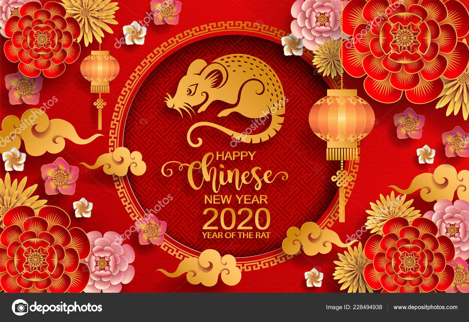 Happy Chinese New Year 2020 Zodiac Sign Gold Rat Paper ...