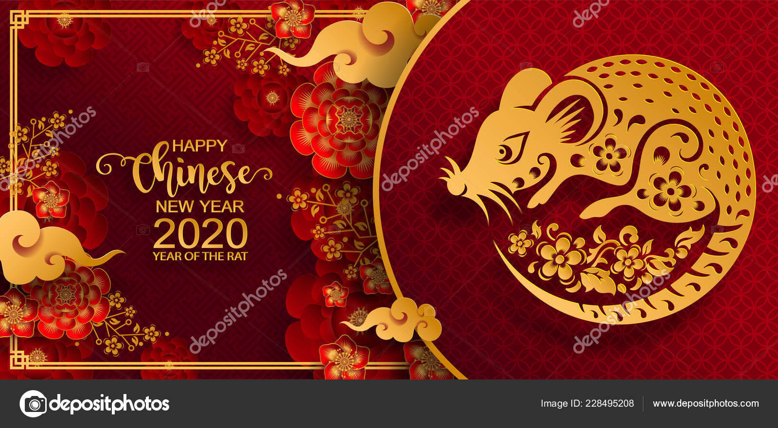 Chinese New Year 2020 Events Happy Chinese New Year 2020 Zodiac Sign Gold Rat Paper — Stock
