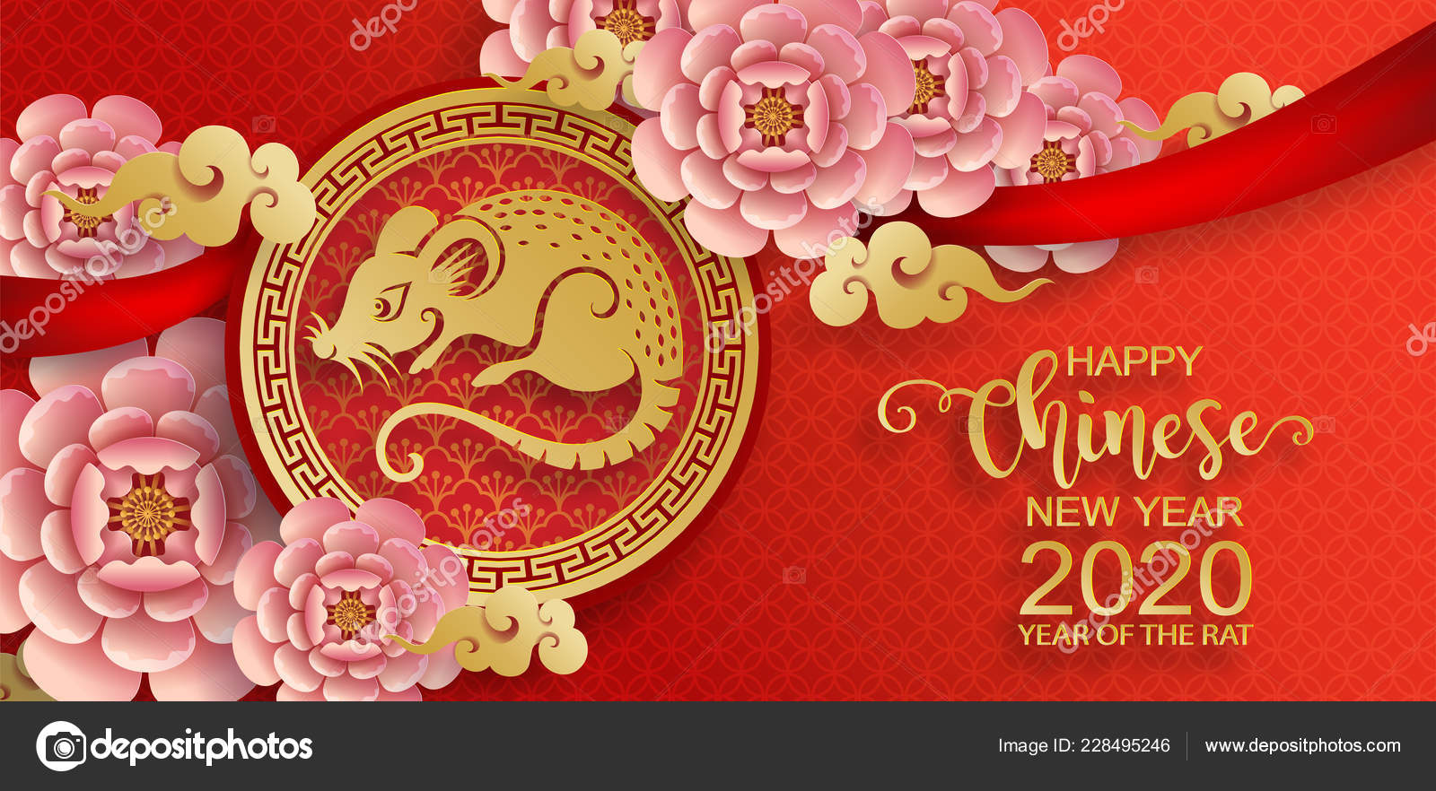 Chinese New Year 2020 Colors Happy Chinese New Year 2020 Zodiac Sign Gold Rat Paper — Stock