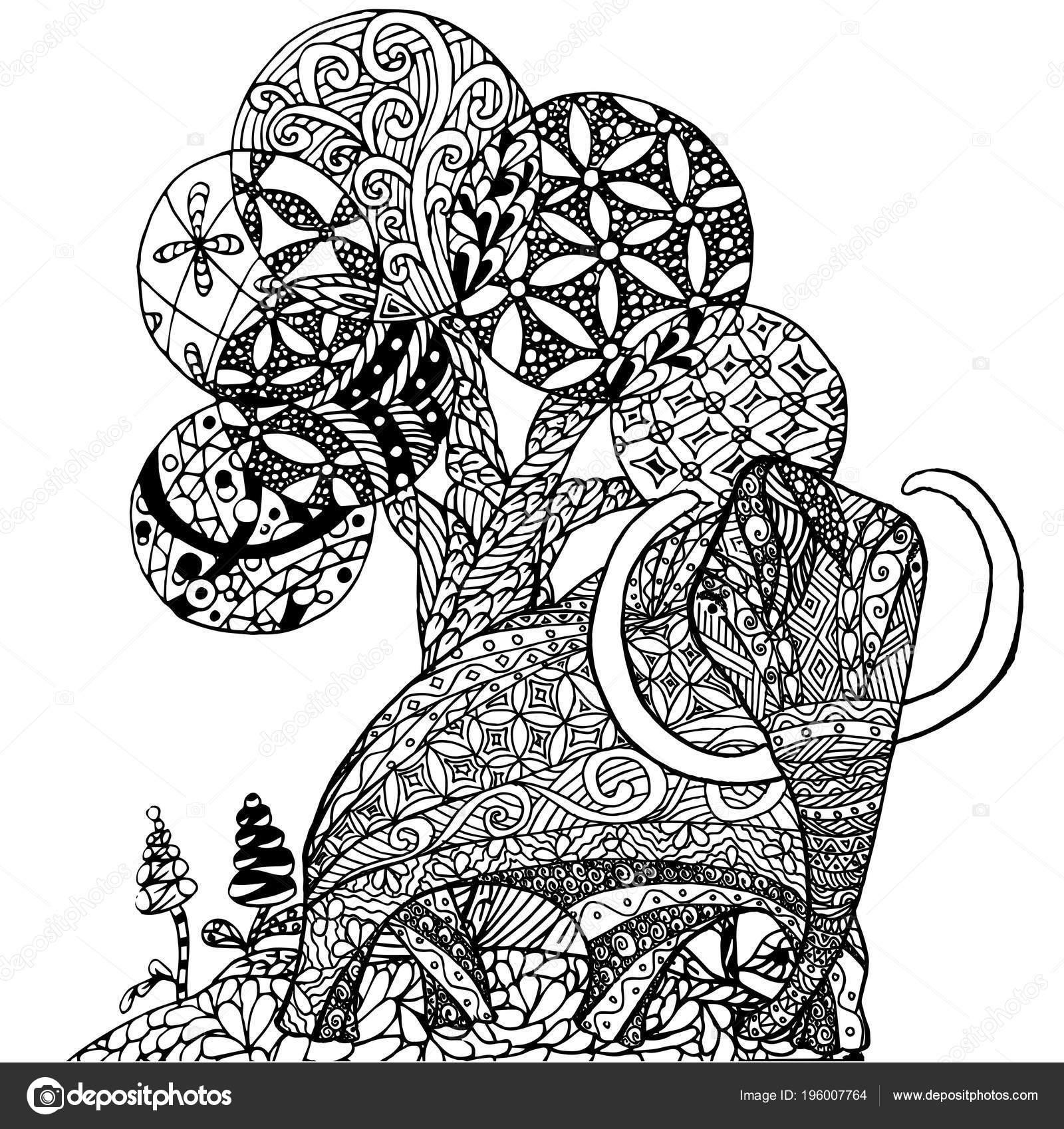 Zentangle Stil Tek Renkli Kroki Mammut Ağaç Boyama Sayfası