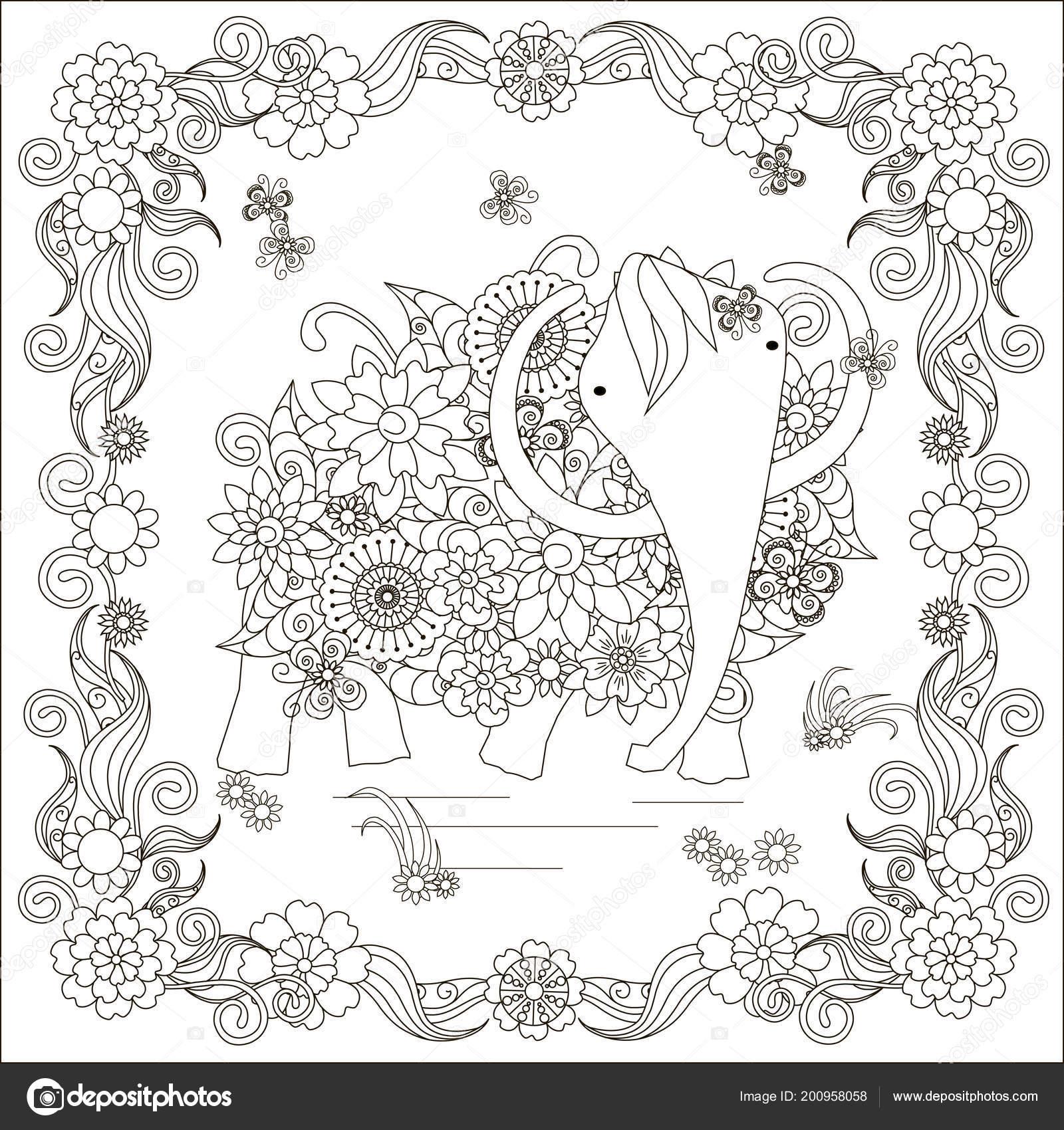 Coloriage Cadre Fleur.Mammouth Cadre Fleur Fleurs Coloriage Element Conception Page