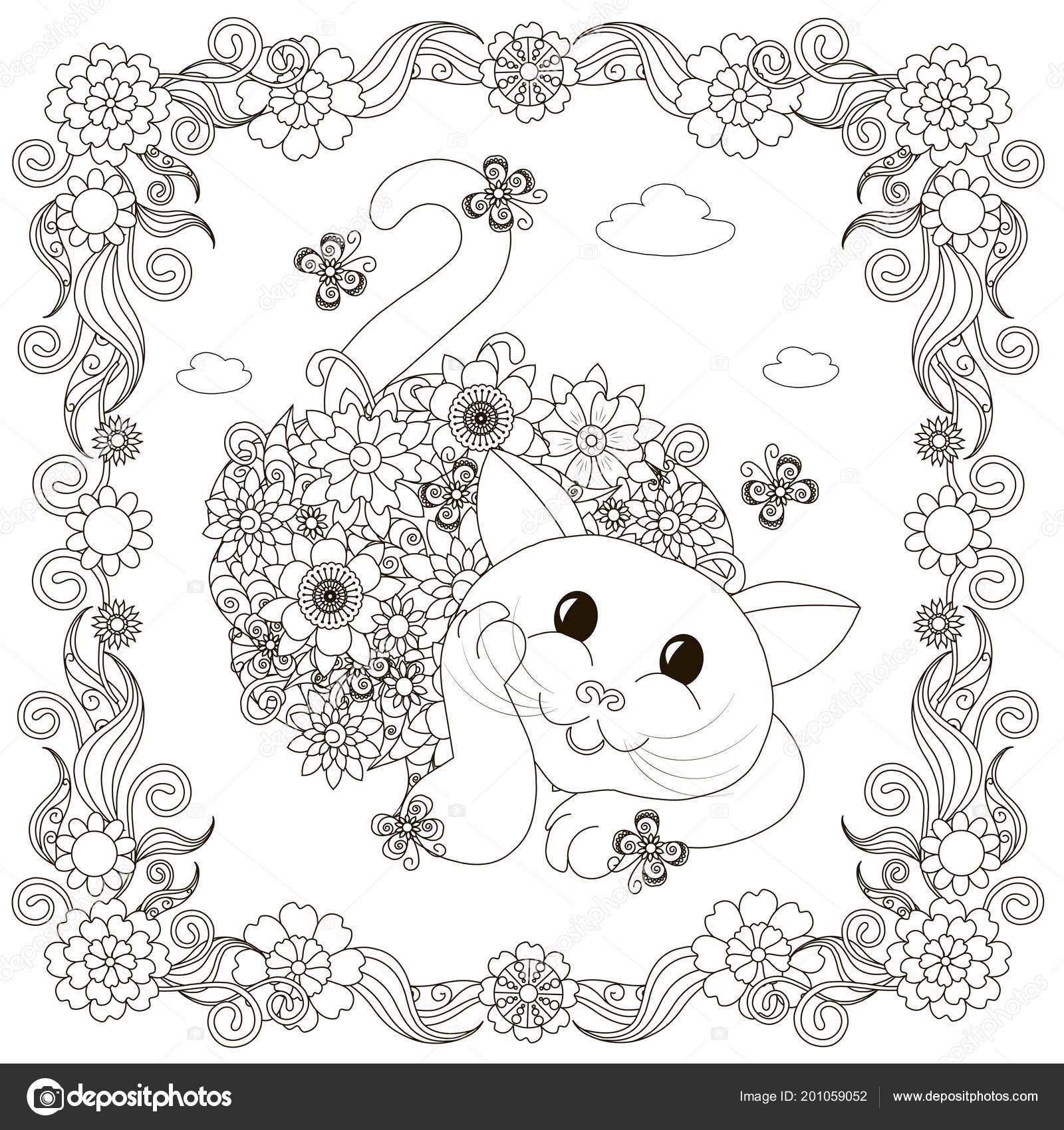 çiçek Boyama Kedi çiçekli çerçeve Sayfası Boyama Için Döşeme