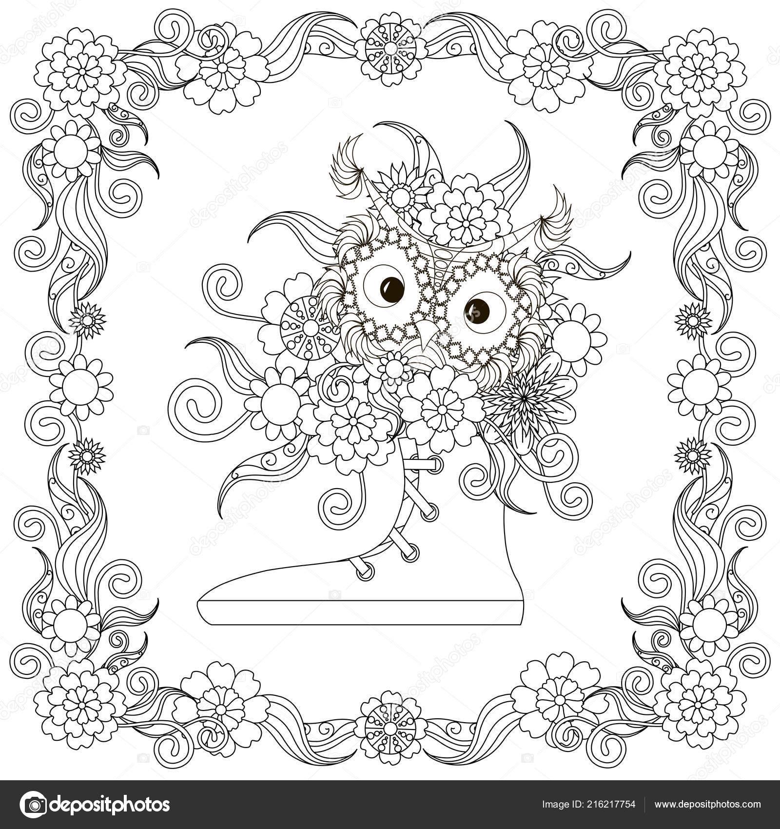 Baykuş Ile Spor Ayakkabı çerçeve çiçek çiçekler Buket Tasarım öğesi