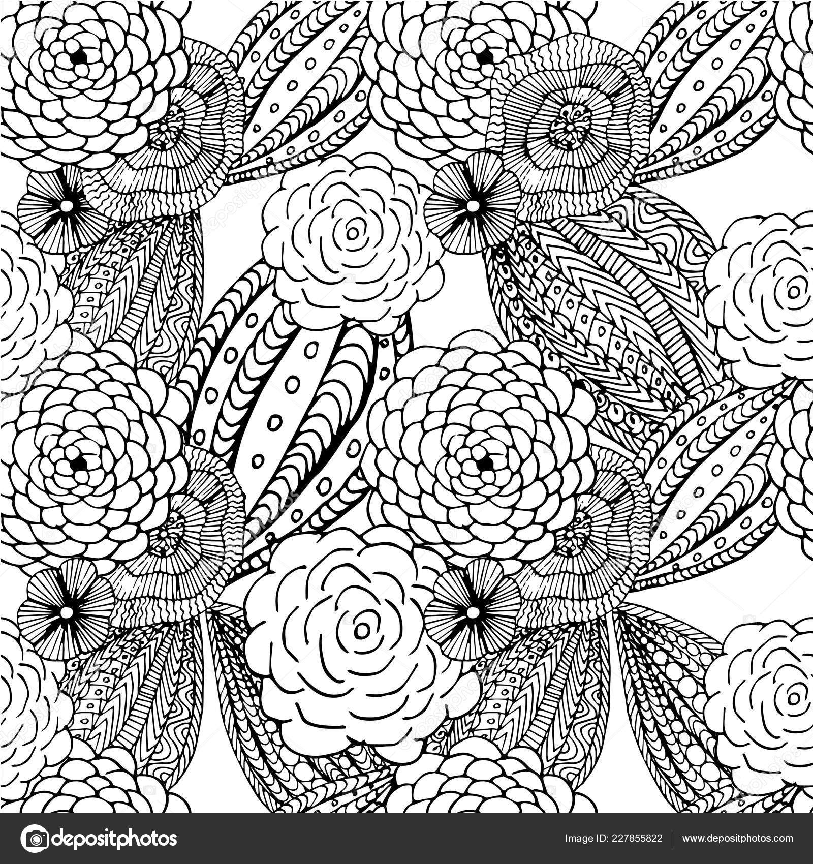 Floral Seamless Pattern Coloring Book Antistress Page Hand Drawn Design Stock Vector C Katimus Ukr Net 227855822
