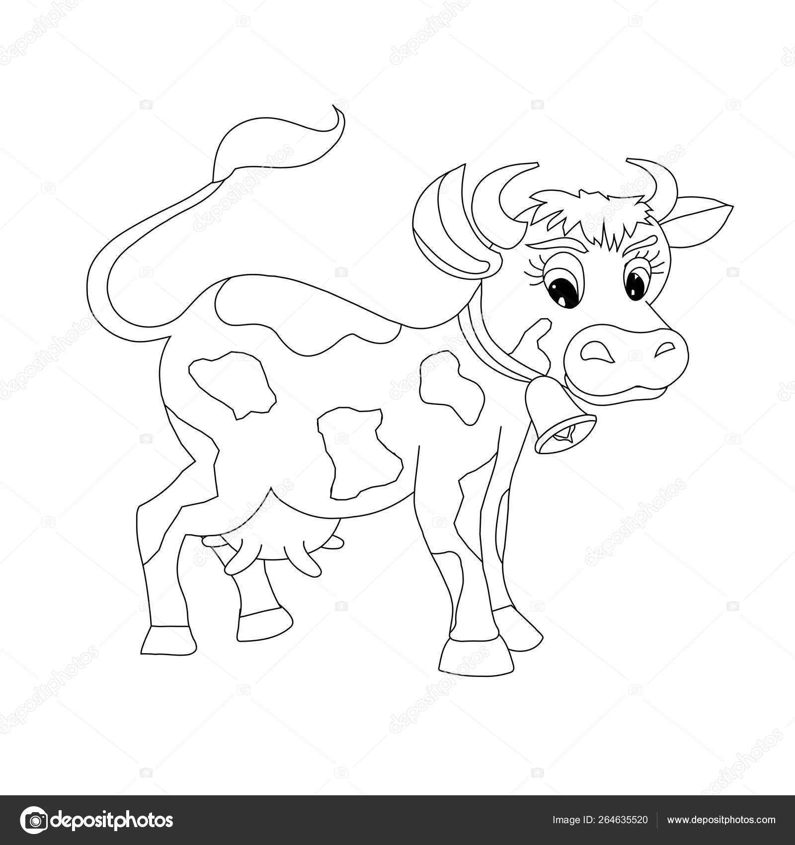 Cow Sketch Design Element Cartoons Funny Farm Animal Web