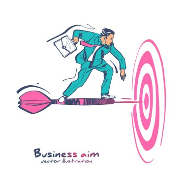 Business aim. Businessman with briefcase standing on dart to achieve business goal.