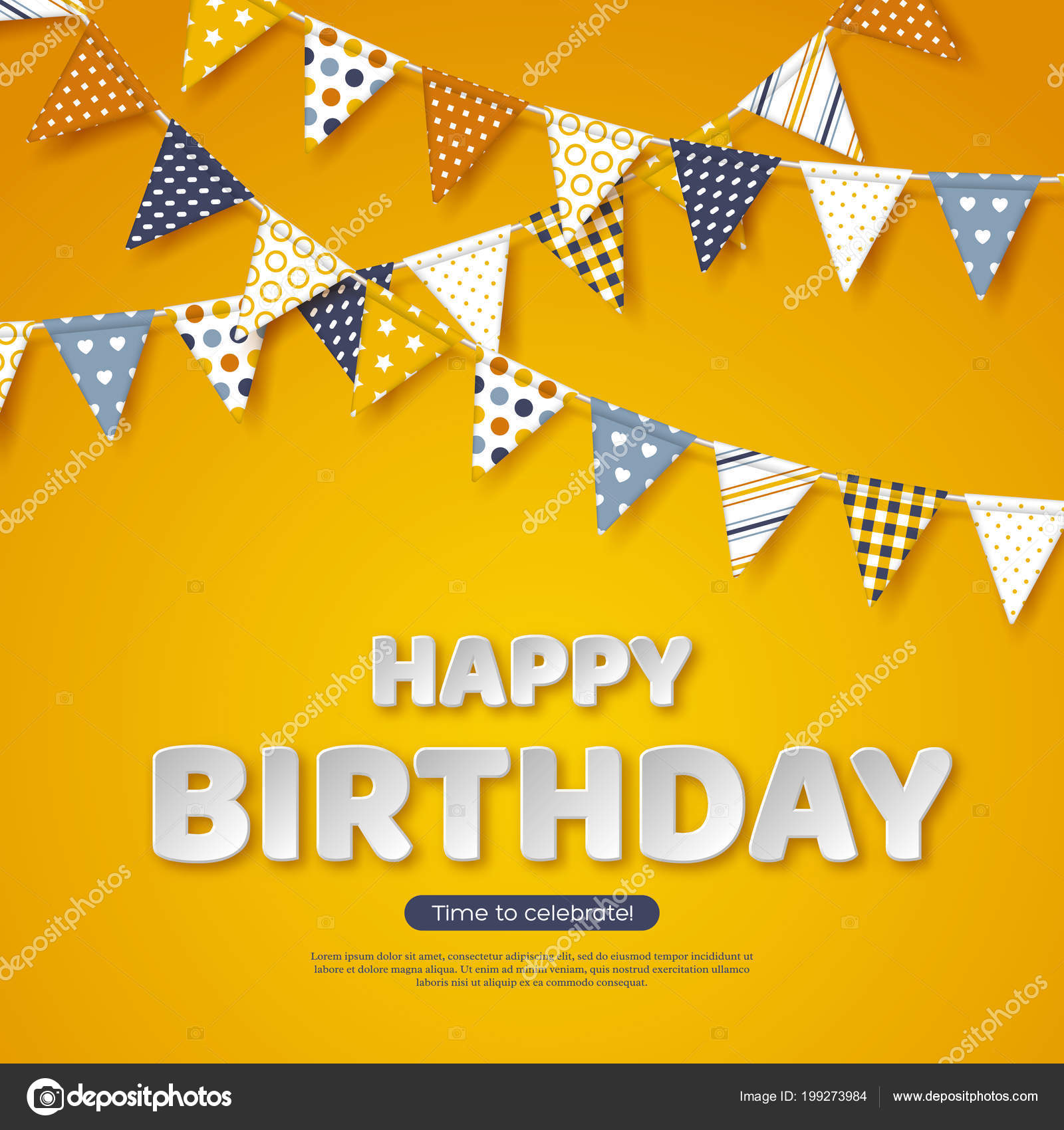 Happy Birthday Greeting Design Paper Cut Style White Letters And