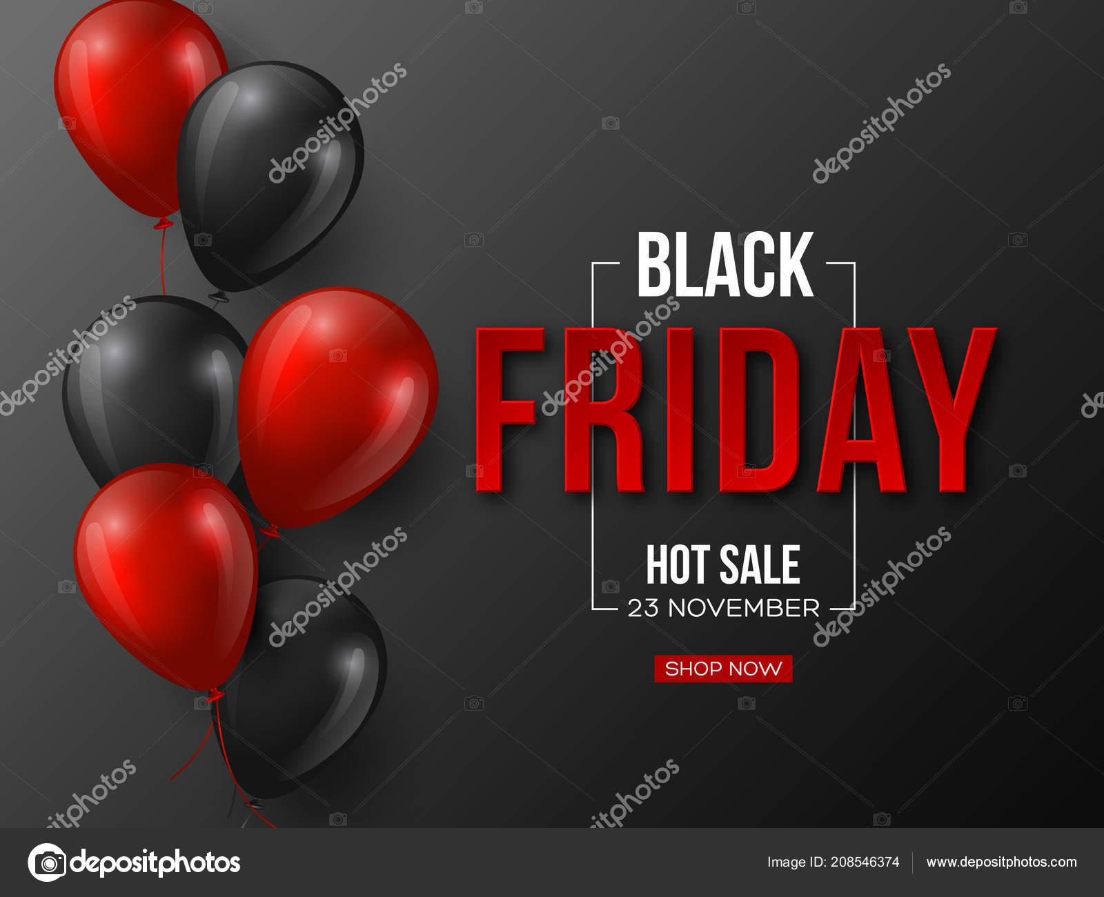 bbf8de433 Preto sexta-feira venda design tipográfico. letras 3D cor vermelha  estilizadas com balões lustrosos