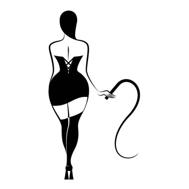 Young sexy woman standing woman with a whip. Thematic bdsm. Vector illustration isolated on white background