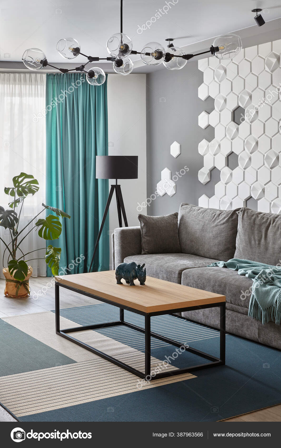 Modern Living Room Grey Sofa Cyan Blanket Carpet Curtains Decorative Stock Photo Image By C Simplesseller Gmail Com 387963566