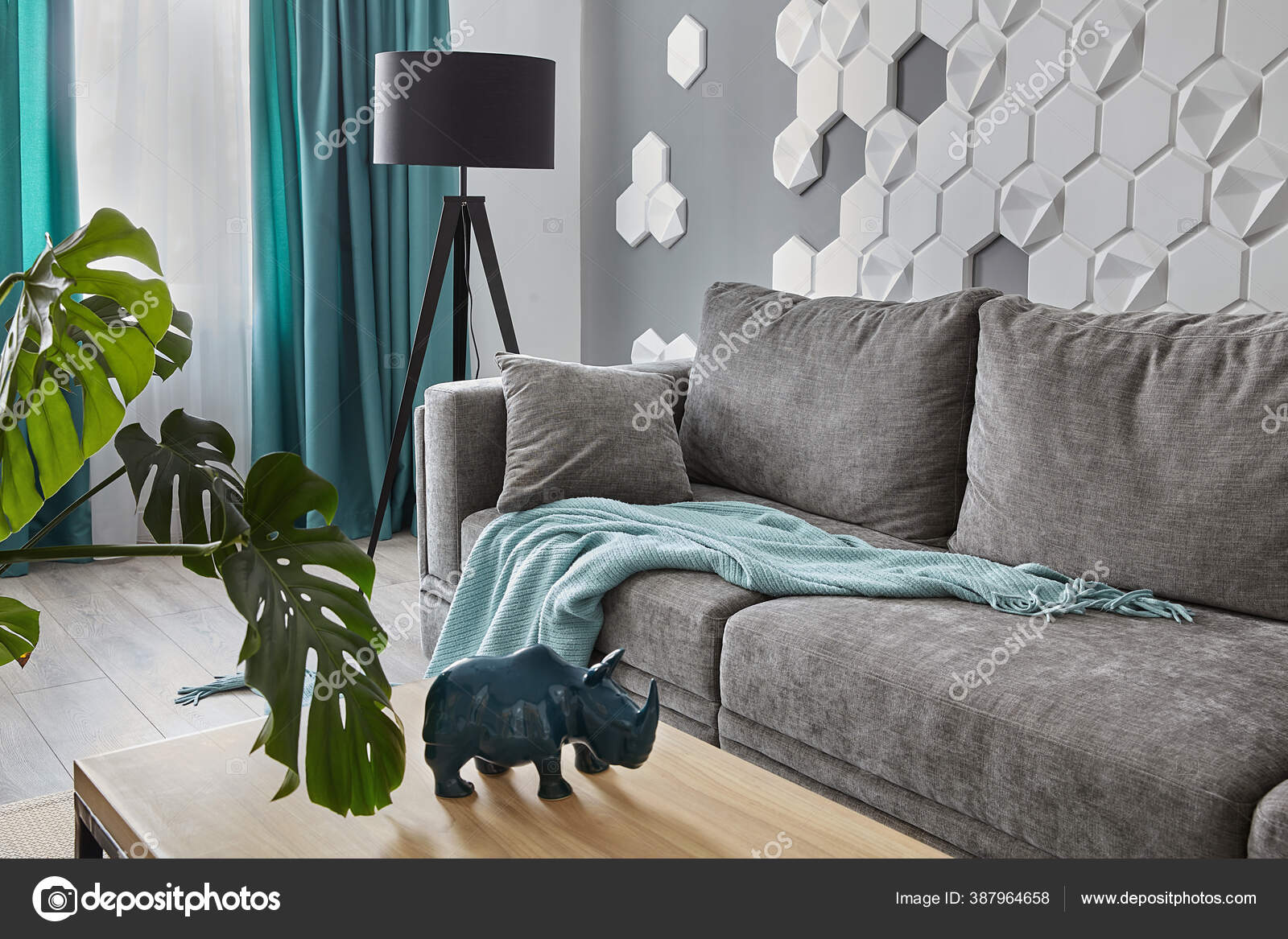 Modern Living Room Grey Sofa Cyan Blanket Carpet Curtains Decorative Stock Photo Image By C Simplesseller Gmail Com 387964658