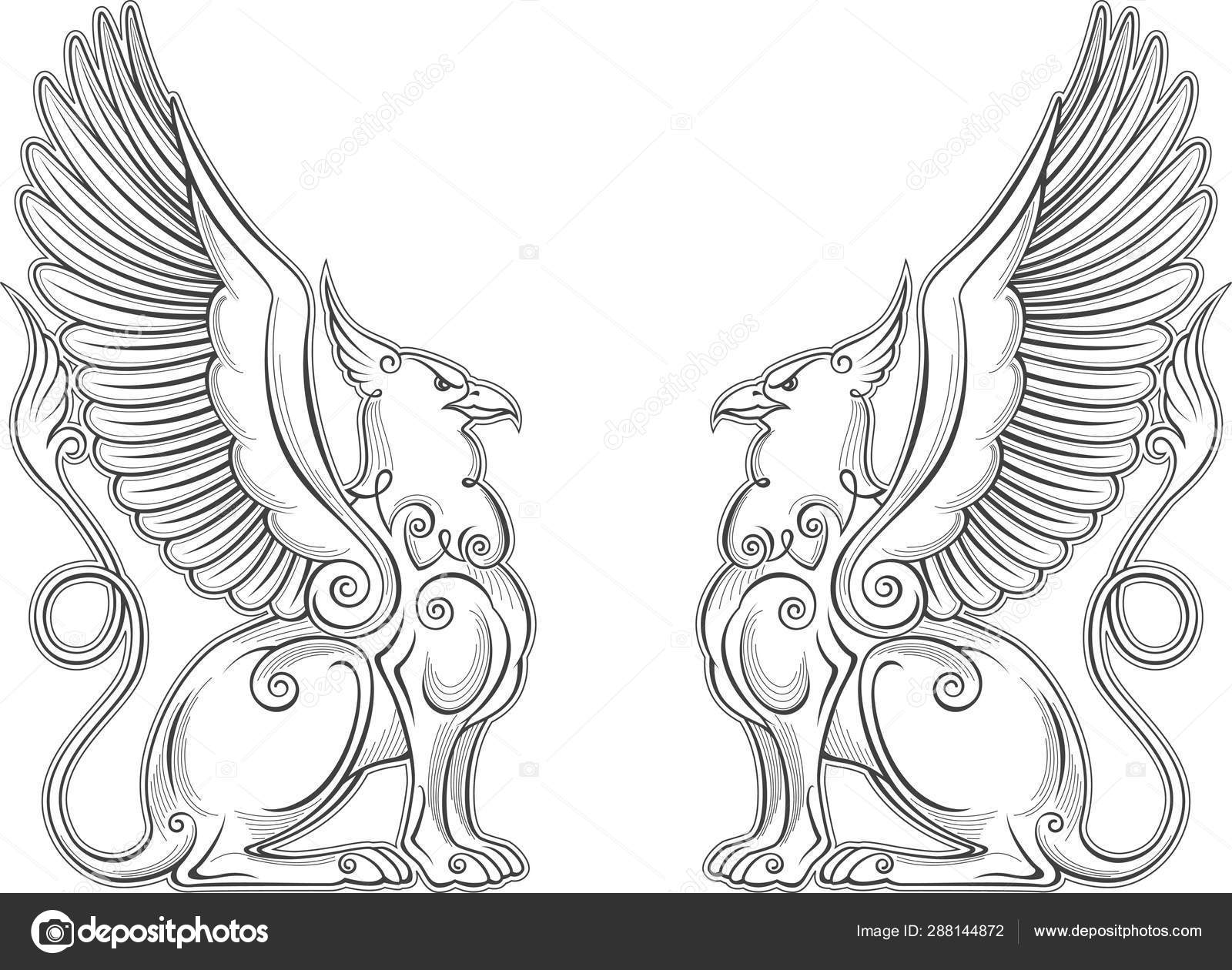 Gryphon mythical creature power and strength symbol vector