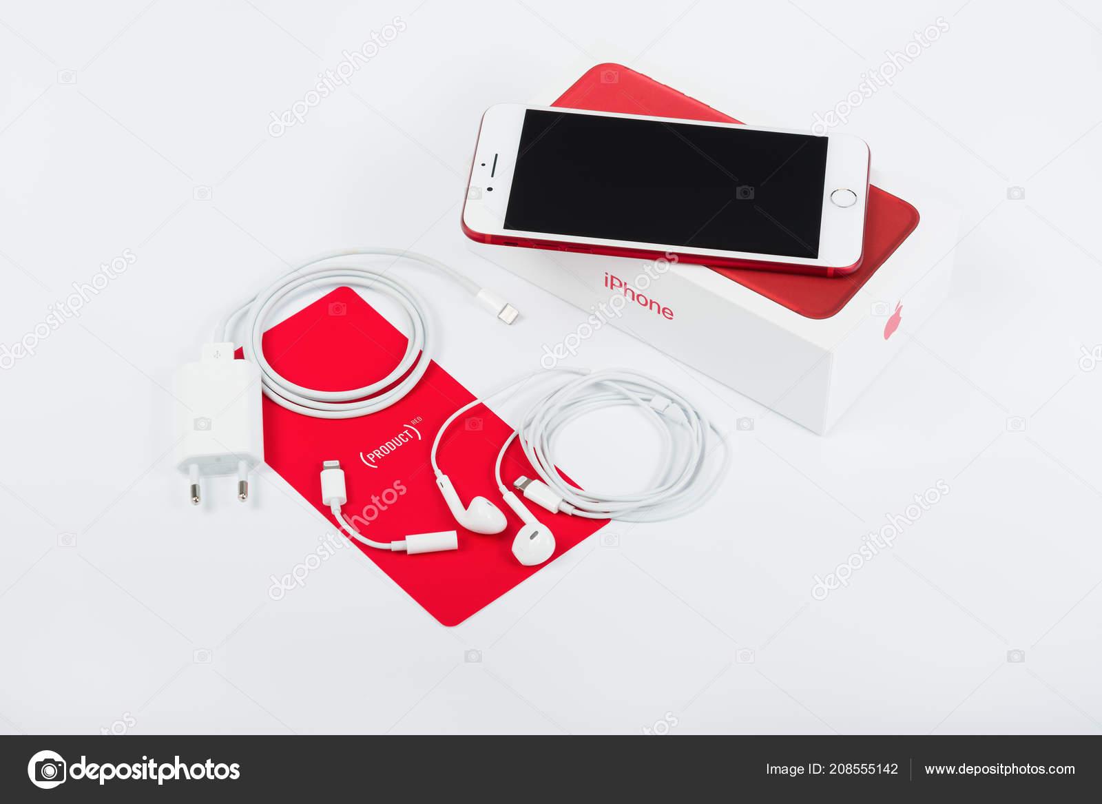 Burgas Bulgaria Agosto 2018 Apple Iphone Edizione Speciale Rosso