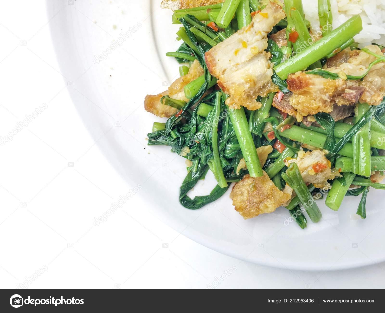 Stir Fry Kai Land Crispy Pork Stir Fried Rice Rice — Stock Photo © n