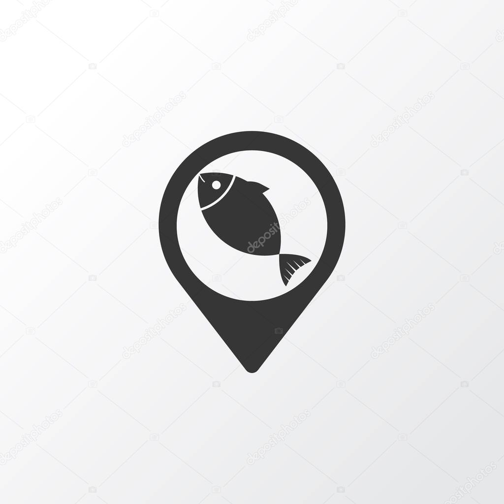 Geolocation icon symbol. Premium quality isolated fish location element in trendy style.