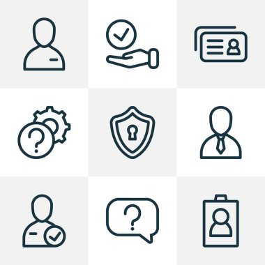 Work icons line style set with id, question, choice and other recruitment elements. Isolated vector illustration work icons.