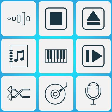 Multimedia icons set with dj disc, synthesizer, microphone and other randomize elements. Isolated vector illustration multimedia icons.