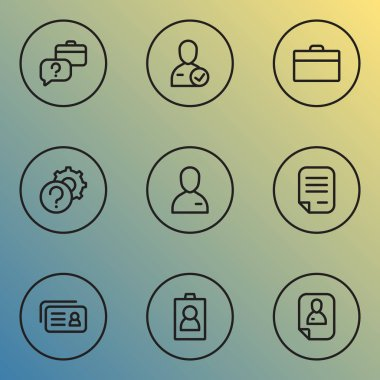 Work icons line style set with setting, faq, briefcase and other authentication elements. Isolated vector illustration work icons.