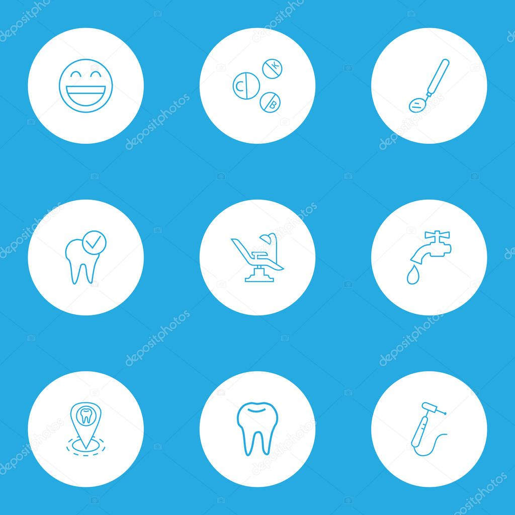 Dental icons line style set with vitamins, dentist location, dental care and other healthcare elements. Isolated vector illustration dental icons.