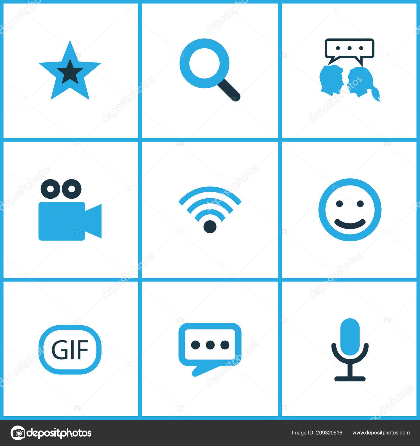 Internet icons colored set with video chat, emoji, gif