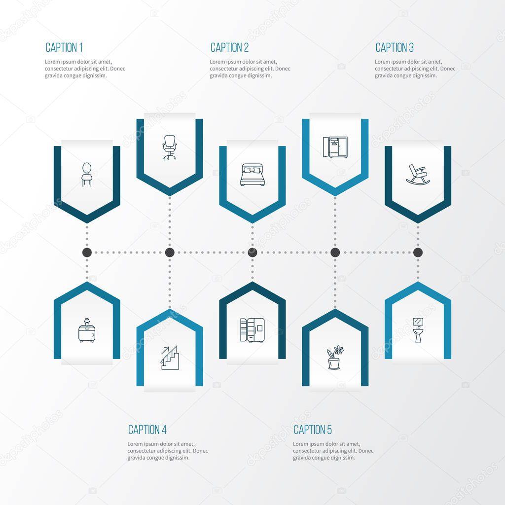 Decor icons line style set with wardrobe, fridge, wash stand bedroom elements. Isolated vector illustration decor icons.