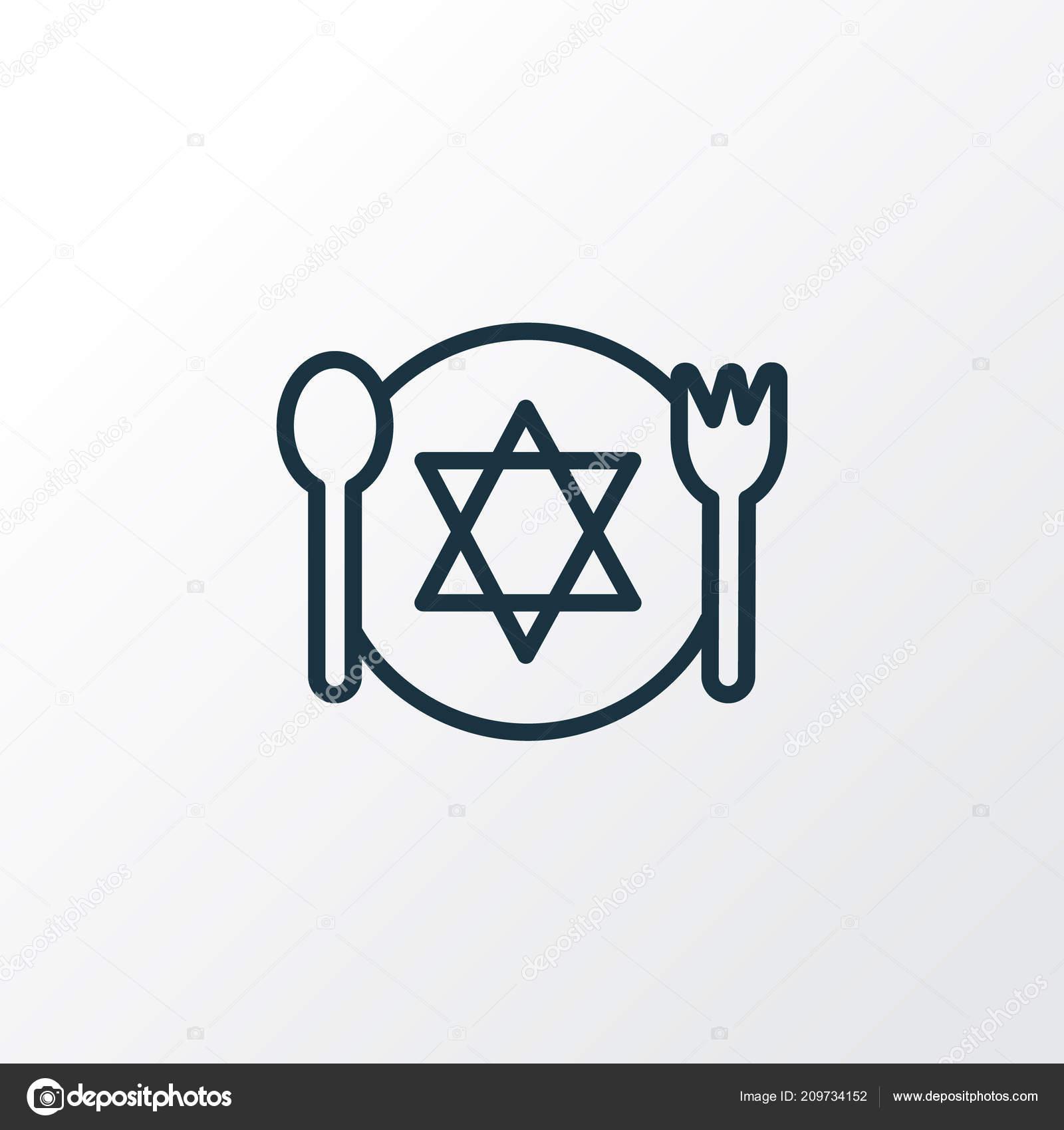 Kosher Food Icon Line Symbol Premium Quality Isolated Meal Element