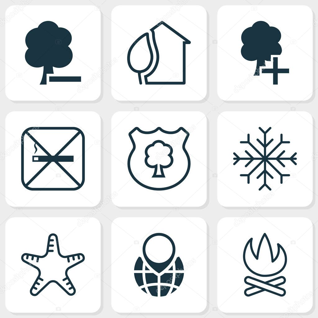 Ecology icons set with campfire, snowflake, no smoking and other home elements. Isolated vector illustration ecology icons.