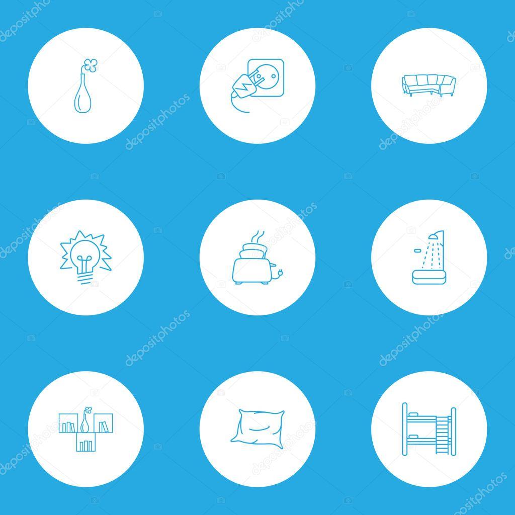 Decor icons line style set with vase, lightblub, corner sofa and other appliance elements. Isolated  illustration decor icons.