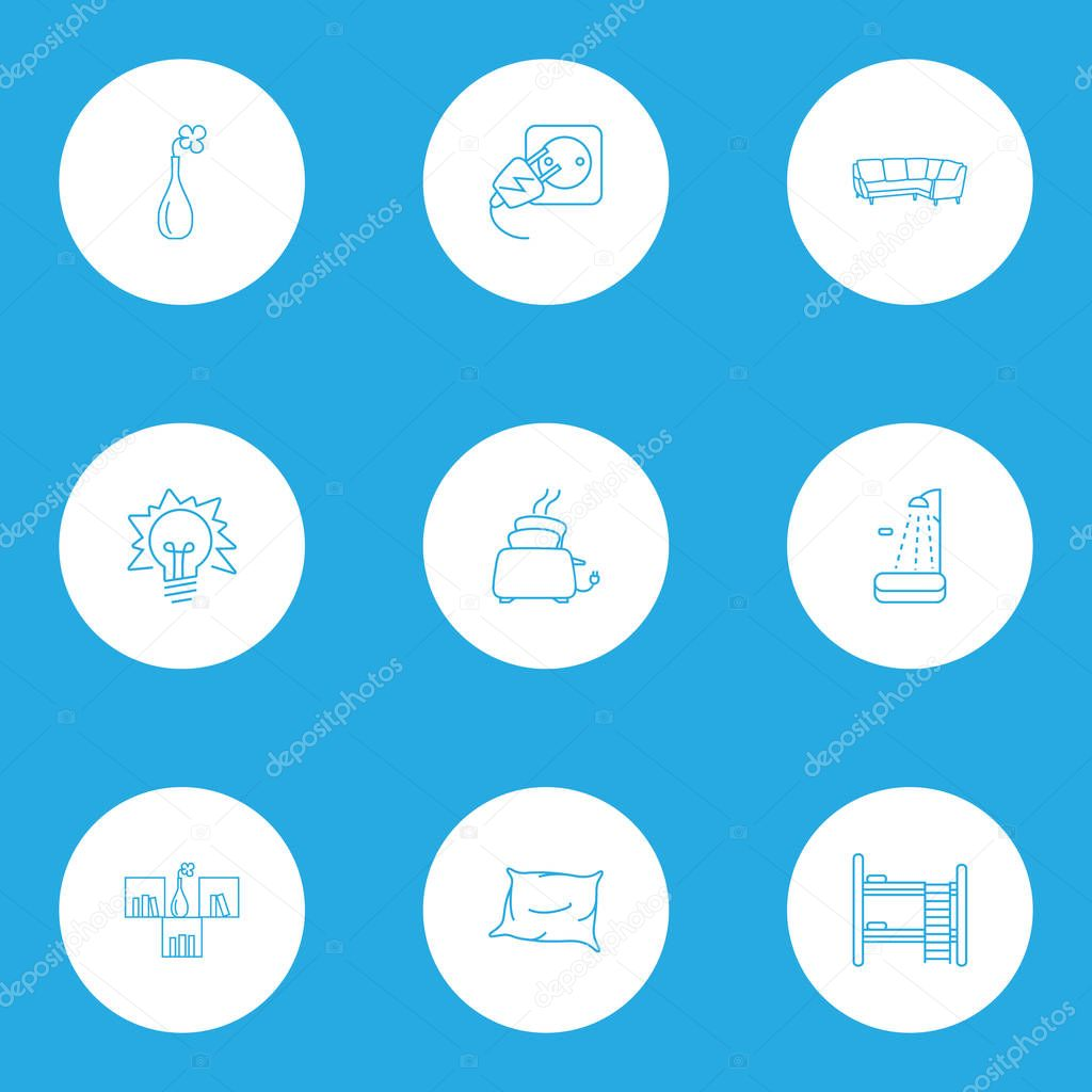Furniture icons line style set with vase, lightblub, corner sofa and other appliance elements. Isolated vector illustration furniture icons.