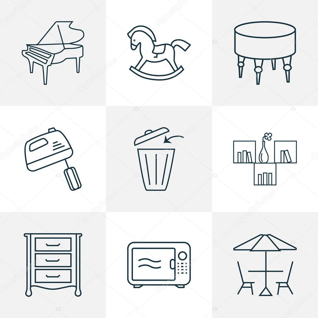 Interior icons line style set with rocking horse, ottoman, microwave and other bench elements. Isolated  illustration interior icons.