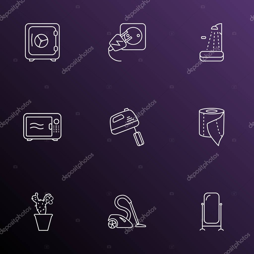 Furniture icons line style set with electric socket, toilet paper, microwave and other stand vanity elements. Isolated  illustration furniture icons.