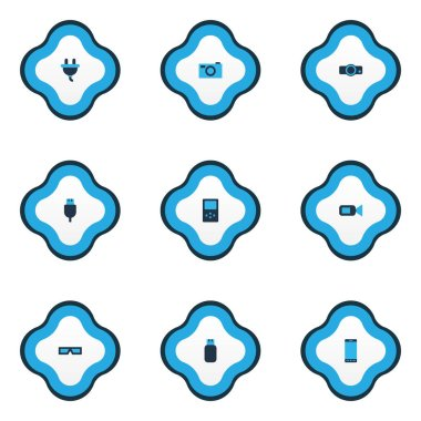 Hardware icons colored set with usb plug, player, smartphone and other cord elements. Isolated  illustration hardware icons.