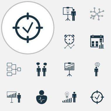 Authority icons set with communication, business demonstration, project goals and other report demonstration elements. Isolated  illustration authority icons.