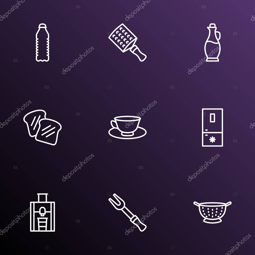 Cooking icons line style set with tea cup, freezer, toast bread and other zester elements. Isolated  illustration cooking icons.