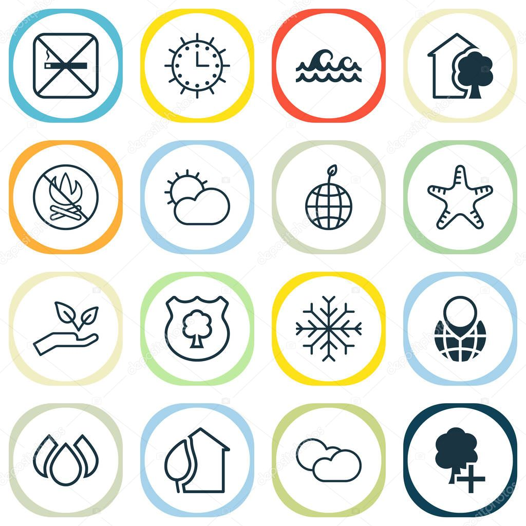 Eco icons set with no smoking, nature, protect forest and other pin earth elements. Isolated vector illustration eco icons.