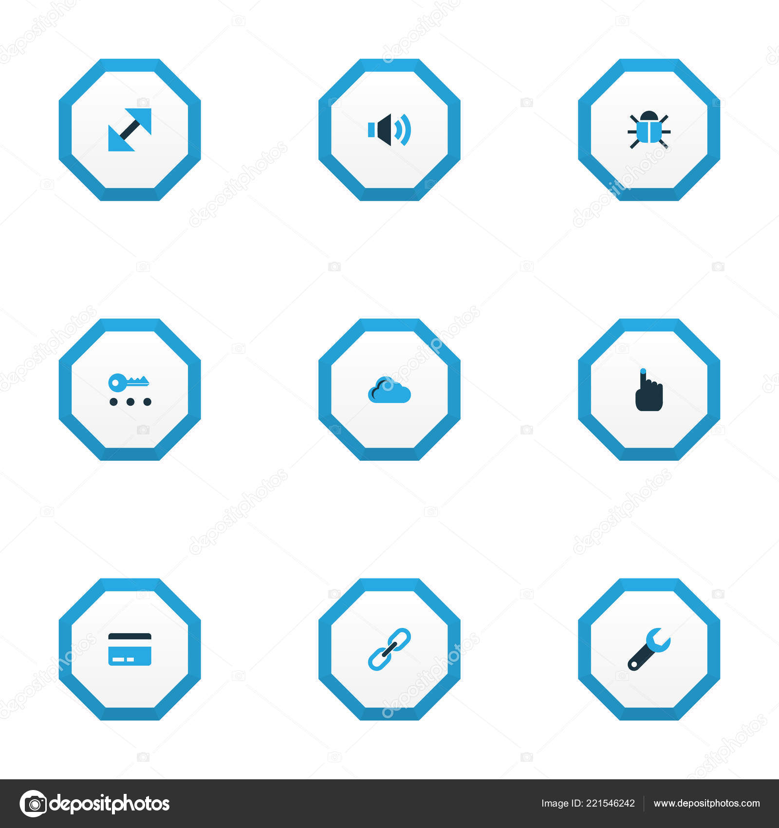 User icons colored set with payment, hand, link virus