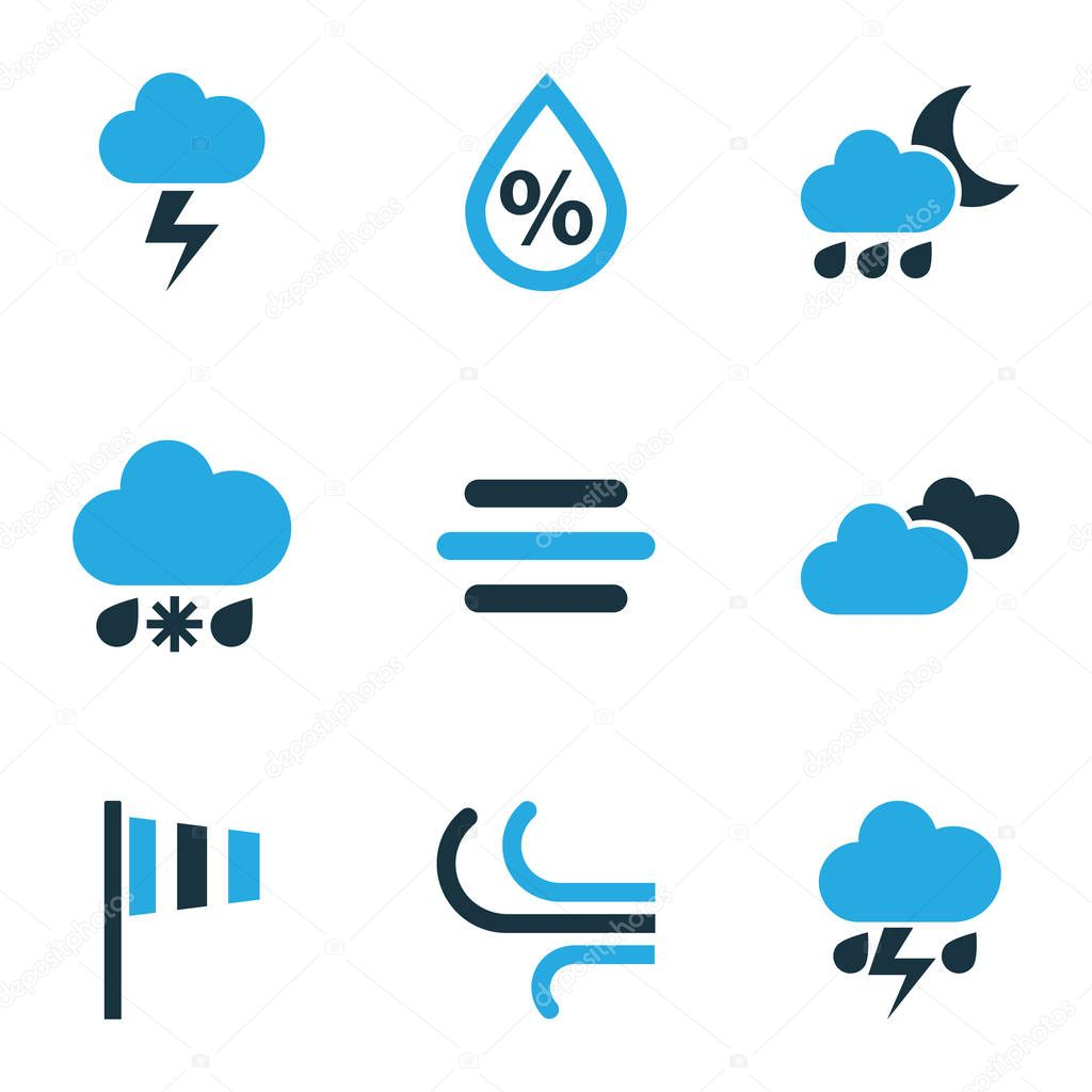 Air icons colored set with overcast, stormy, snowy raining and other thunderstorm elements. Isolated vector illustration air icons.