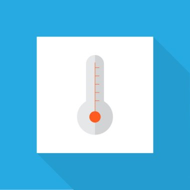 Thermometer icon flat symbol. Premium quality isolated temperature  element in trendy style.