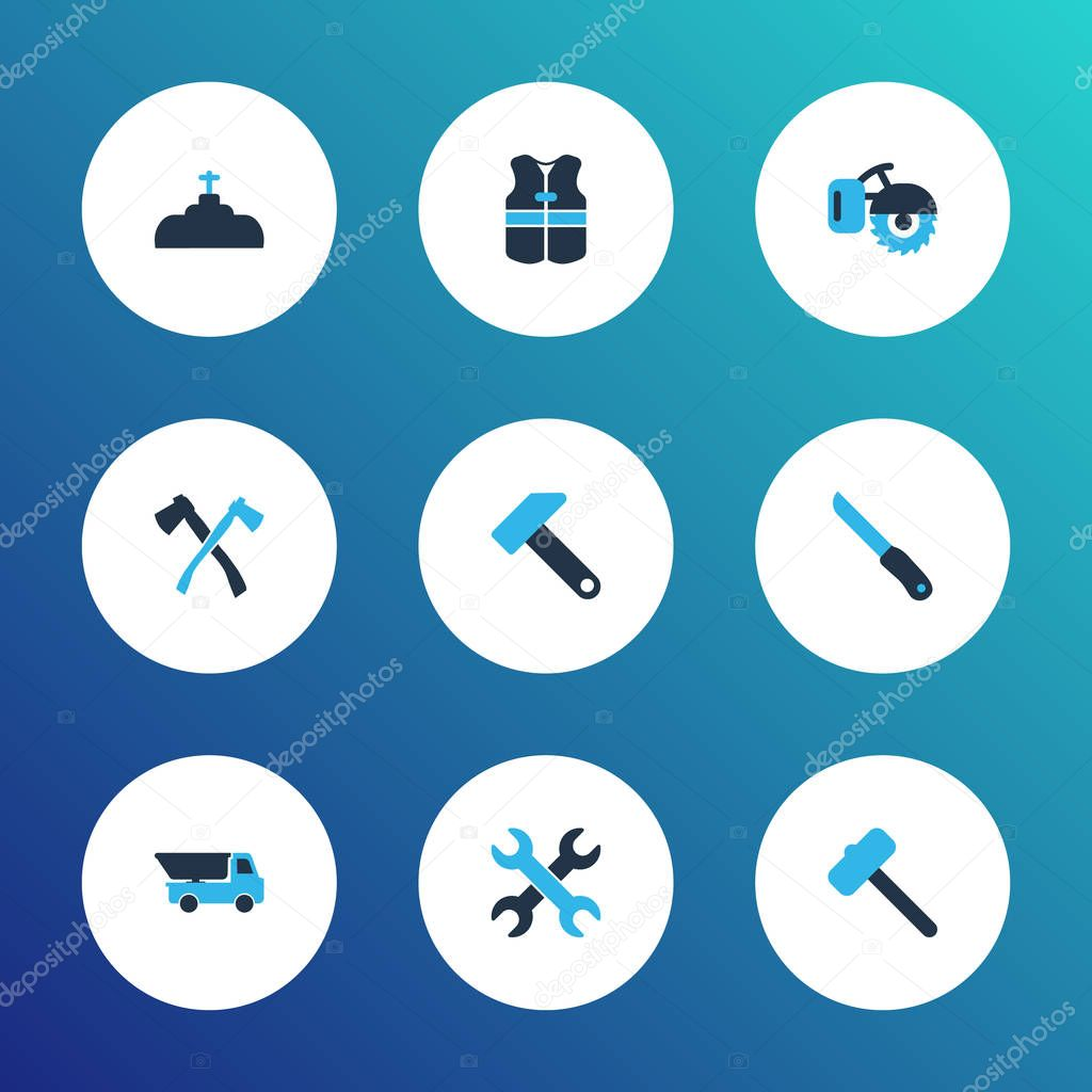 Industry icons colored set with milling machine, plumbing, set of keys and other dumper elements. Isolated vector illustration industry icons.