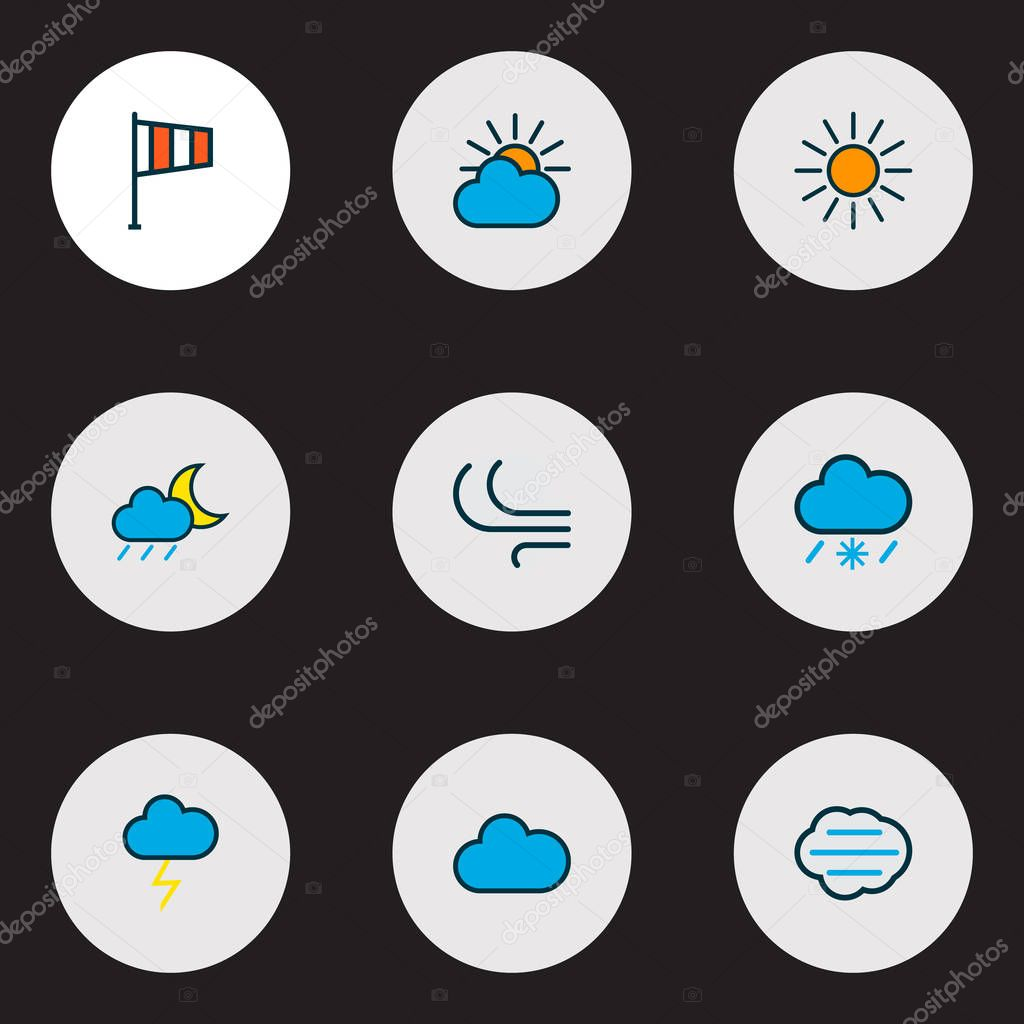 Air icons colored line set with clouded, tempest, thunderstroke and other flag elements. Isolated  illustration air icons.