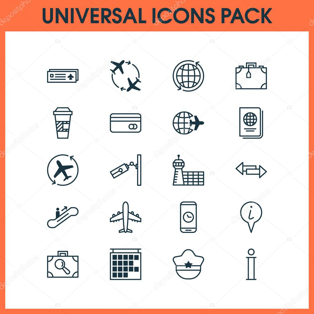 Travel icons set with coffee cup, escalator up, aerodrome and other takeaway coffee elements. Isolated  illustration travel icons.