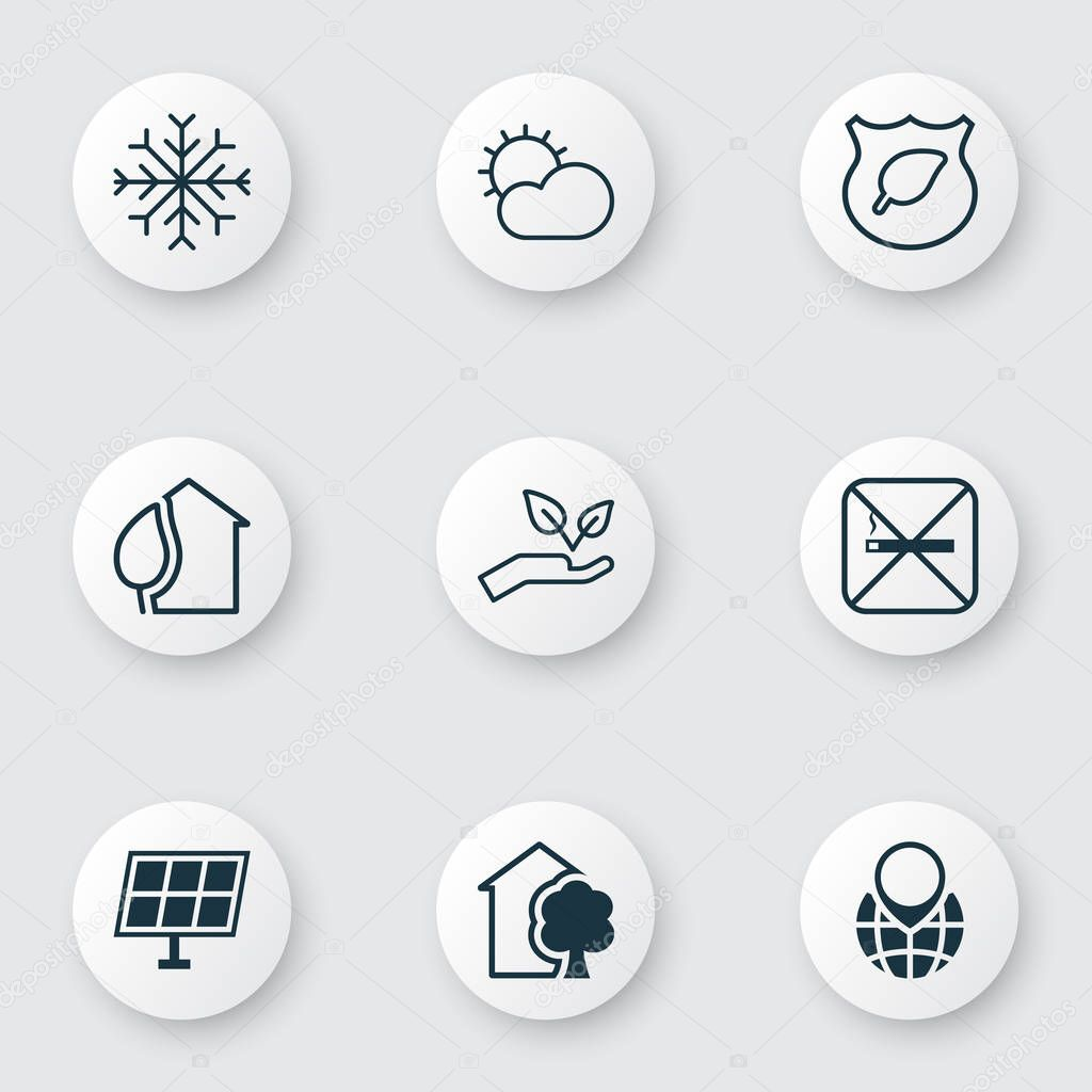 Eco-friendly icons set with globe pointer, solar energy, no smoking and other house elements. Isolated vector illustration eco-friendly icons.