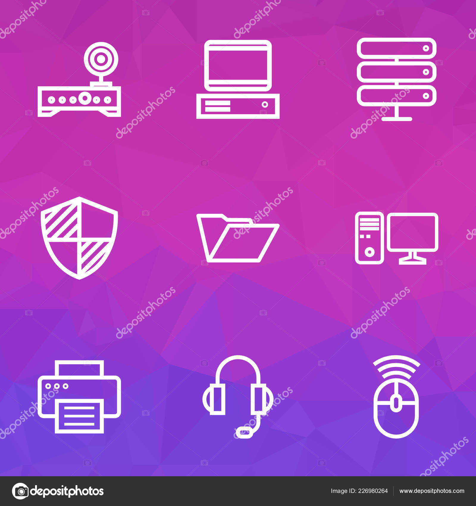 Hardware icons line style set with router, mouse, PC and