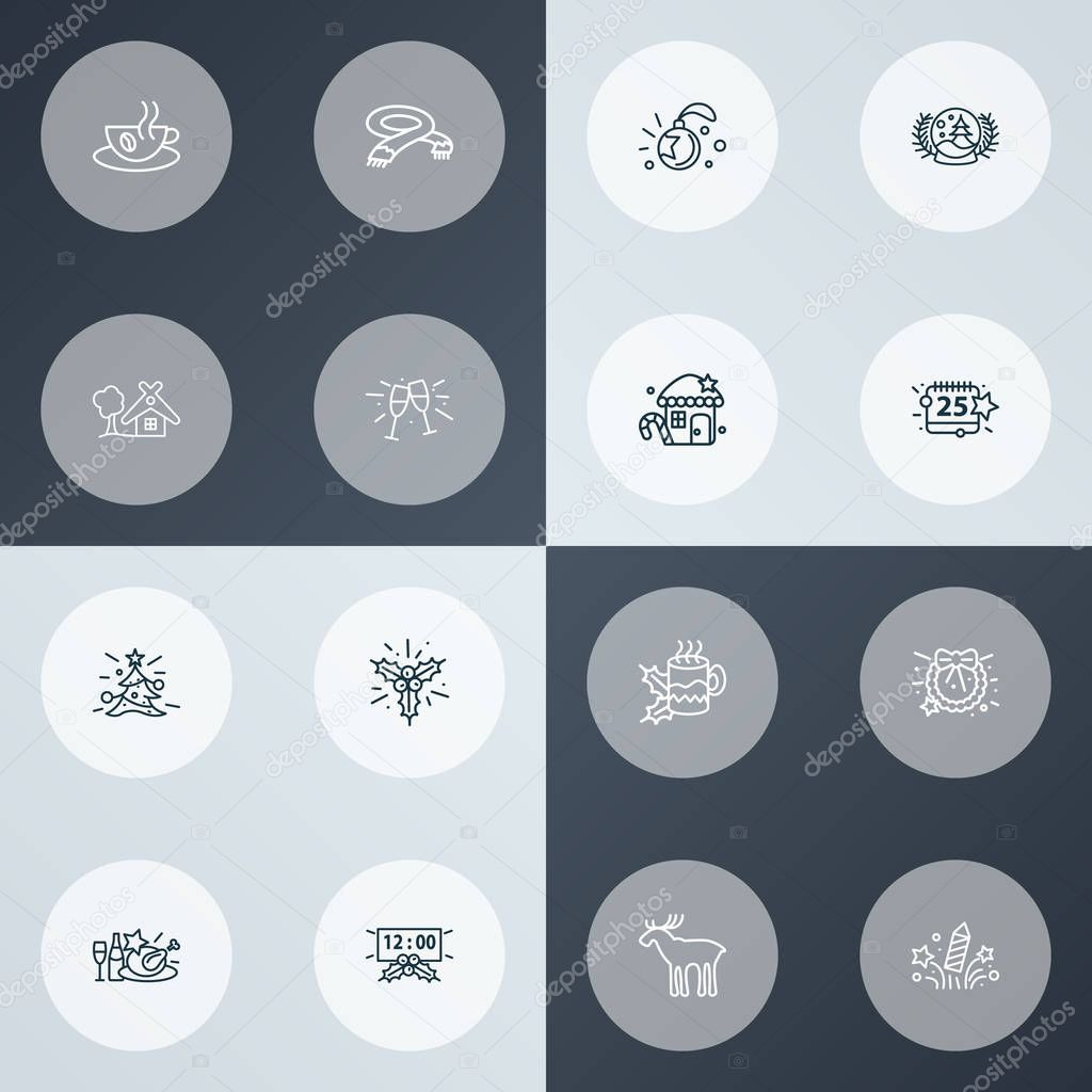 Holiday icons line style set with celebration, hot tea, christmas day and other home elements. Isolated vector illustration holiday icons.