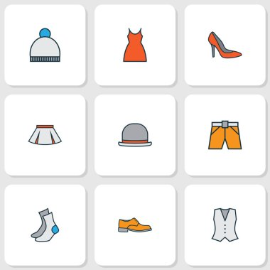 Clothes icons colored line set with waistcoat, mini, gown and other shorts elements. Isolated  illustration clothes icons.