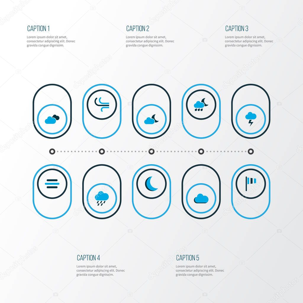 Air icons colored set with breeze, wind, flag and other fog elements. Isolated vector illustration air icons.