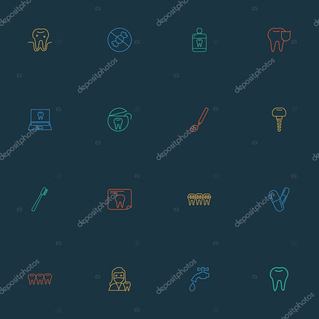 Tooth icons line style set with pills, water crane, teeth and other free sugar elements. Isolated vector illustration tooth icons.