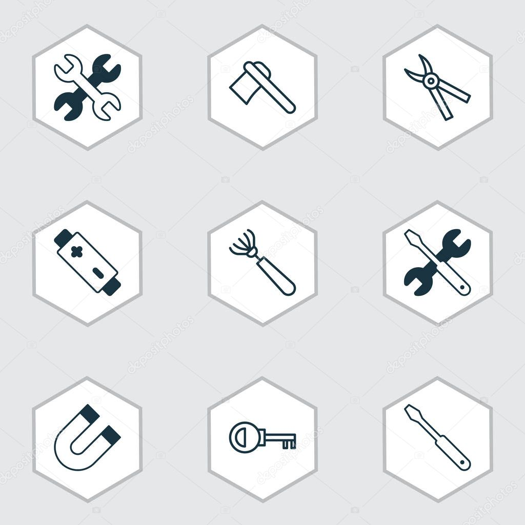 Equipment icons set with magnet, ax, repair tools and other pliers elements. Isolated  illustration equipment icons.
