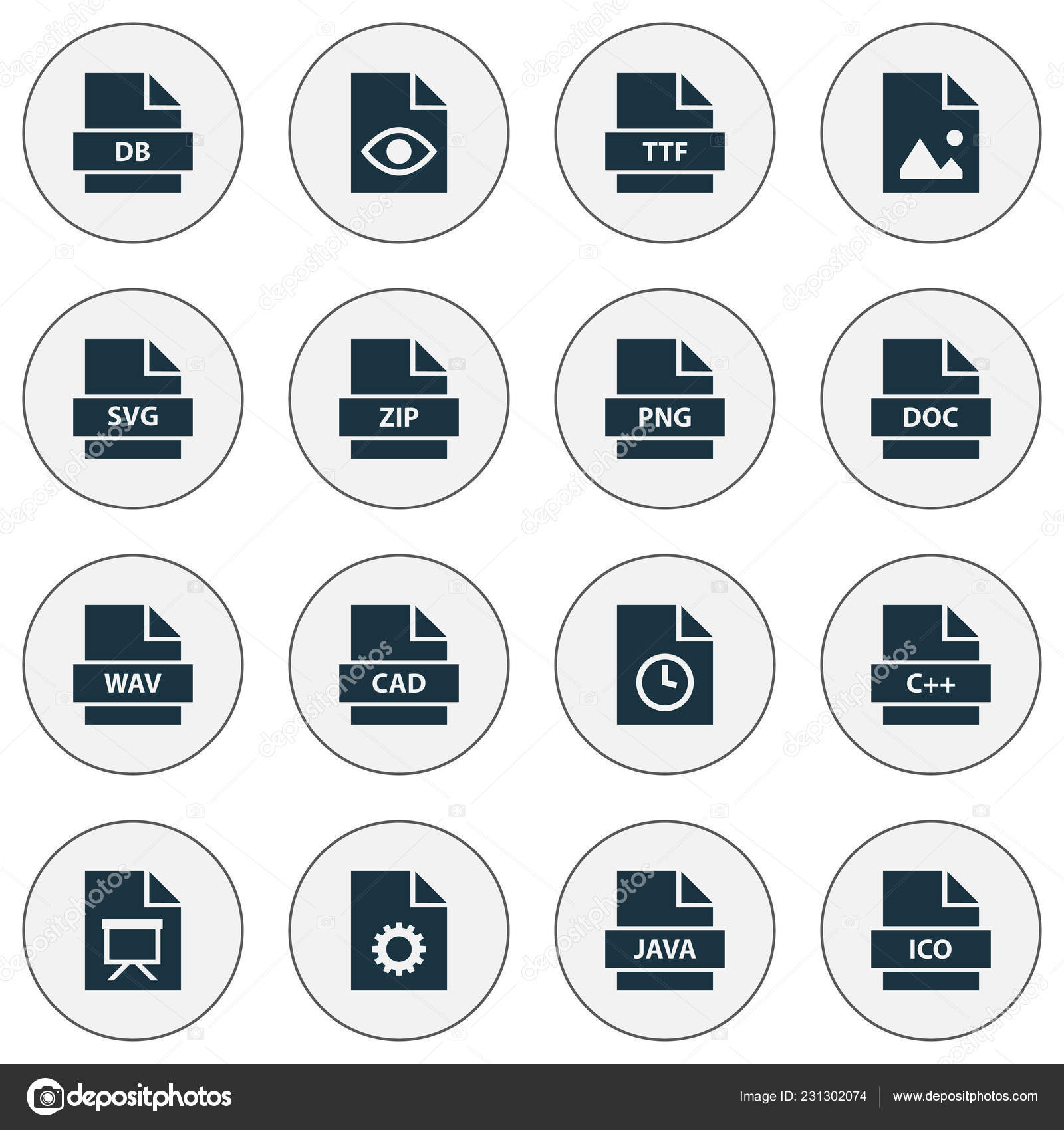 Types icons set with image, directory, hidden and other education